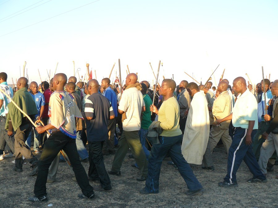 Miners striking in Marikana - By:  Gillian Schutte 