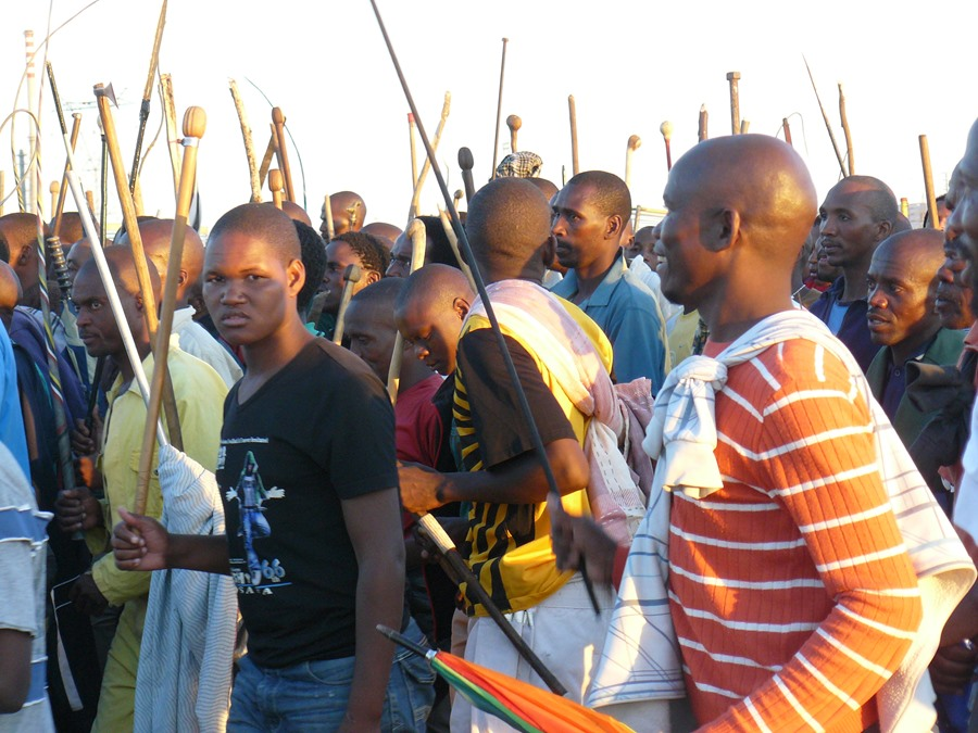 Marikana Miners on strike for economic justice.  Copyright: Media for Justice.